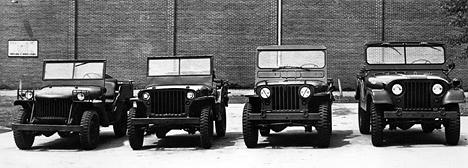 Семейство военных Willys разных лет.